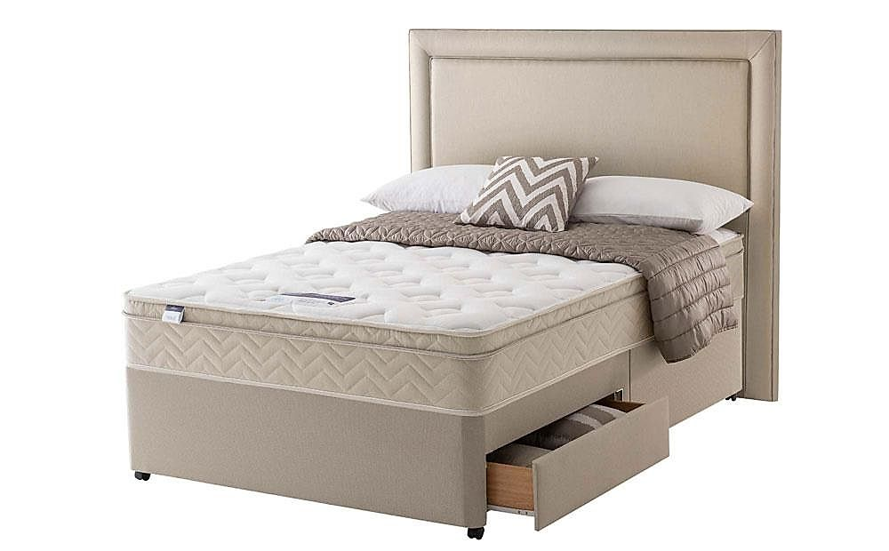 Silentnight Oslo Miracoil Memory Cushion Top Double Divan Bed with Ottoman Storage and 2 Drawers