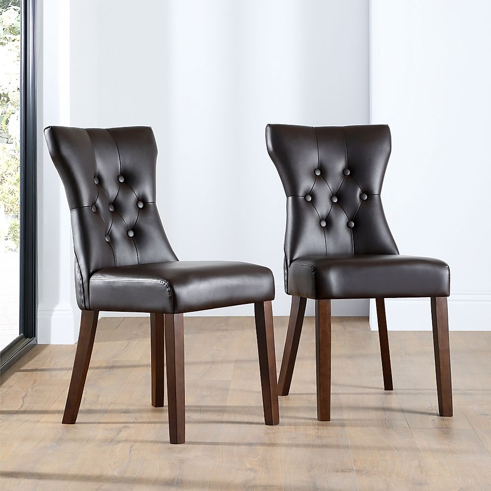 Bewley Leather Button Back Dining Chair Brown (Wenge Leg)