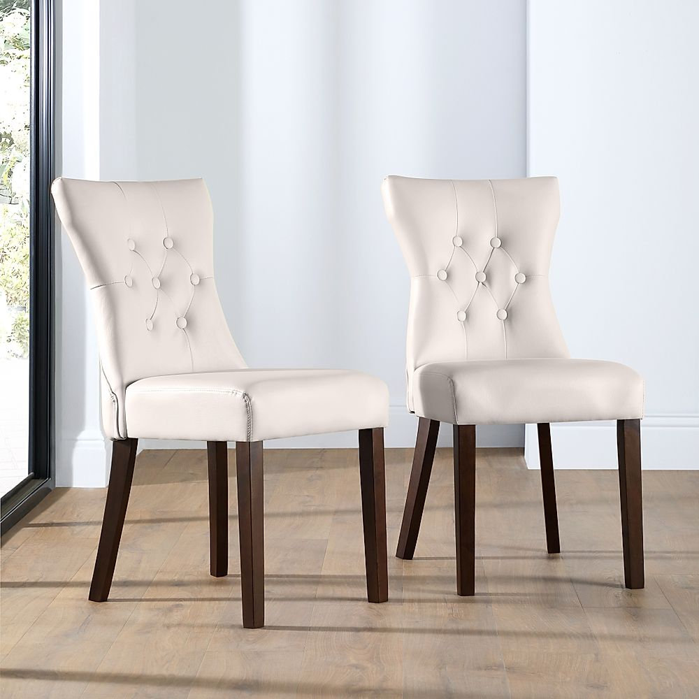 Bewley Ivory Leather Button Back Dining Chair Dark Leg