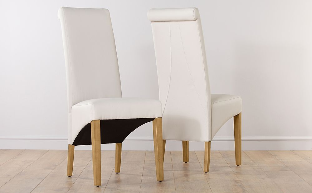 Richmond Cream Leather Dining Chair (Oak Leg)