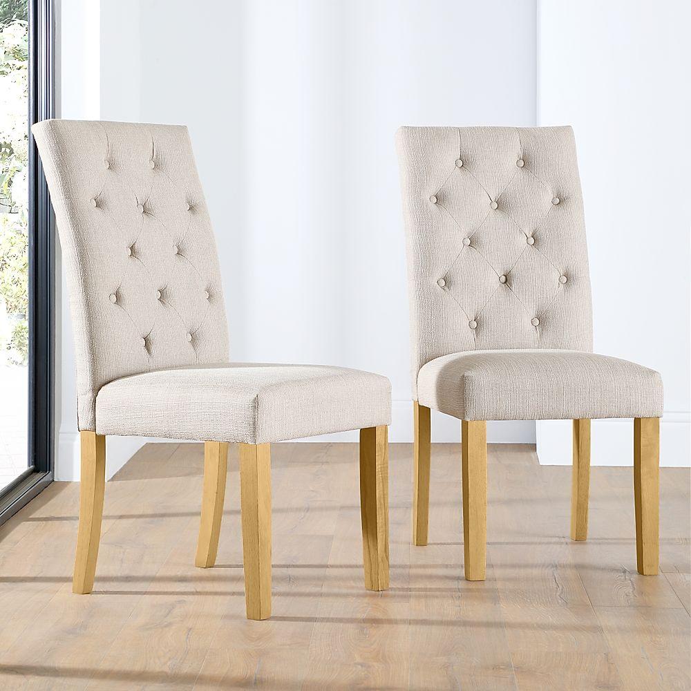 Hatfield Oatmeal Fabric Button Back Dining Chair Oak Leg