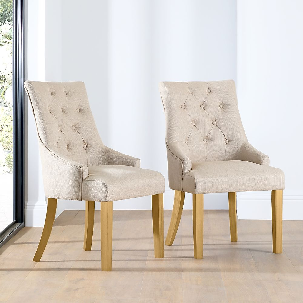 Duke Fabric Button Back Dining Chair Oatmeal (Oak Leg)