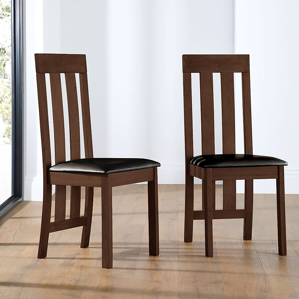 Chester Dining Chair Dark Wood (Brown Seat Pad)