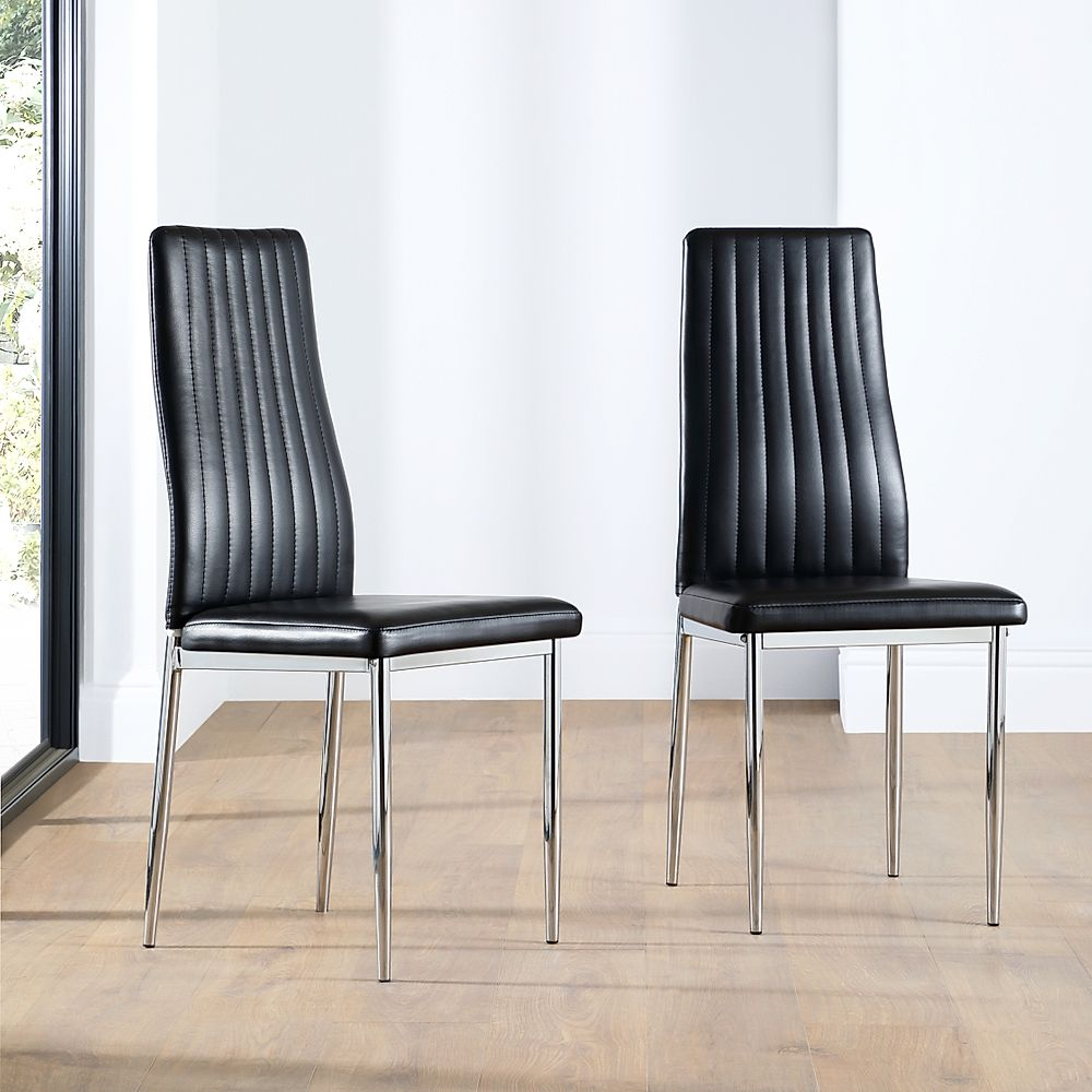 Leon Black Leather Dining Chair (Chrome Leg)