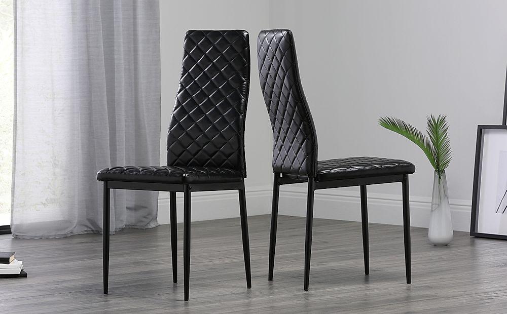Renzo Leather Dining Chair Black (Black Leg)