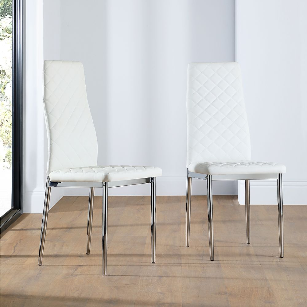 Renzo White Leather Dining Chair Chrome Leg