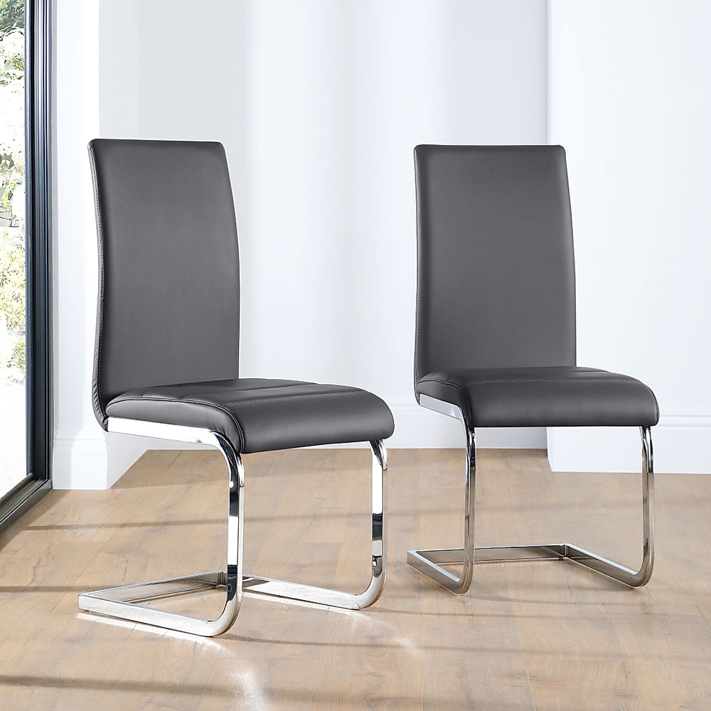 Perth Leather Dining Chair Grey