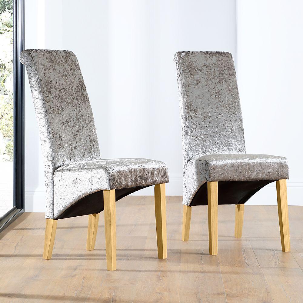 Boston Silver Velvet Dining Chair Oak Leg
