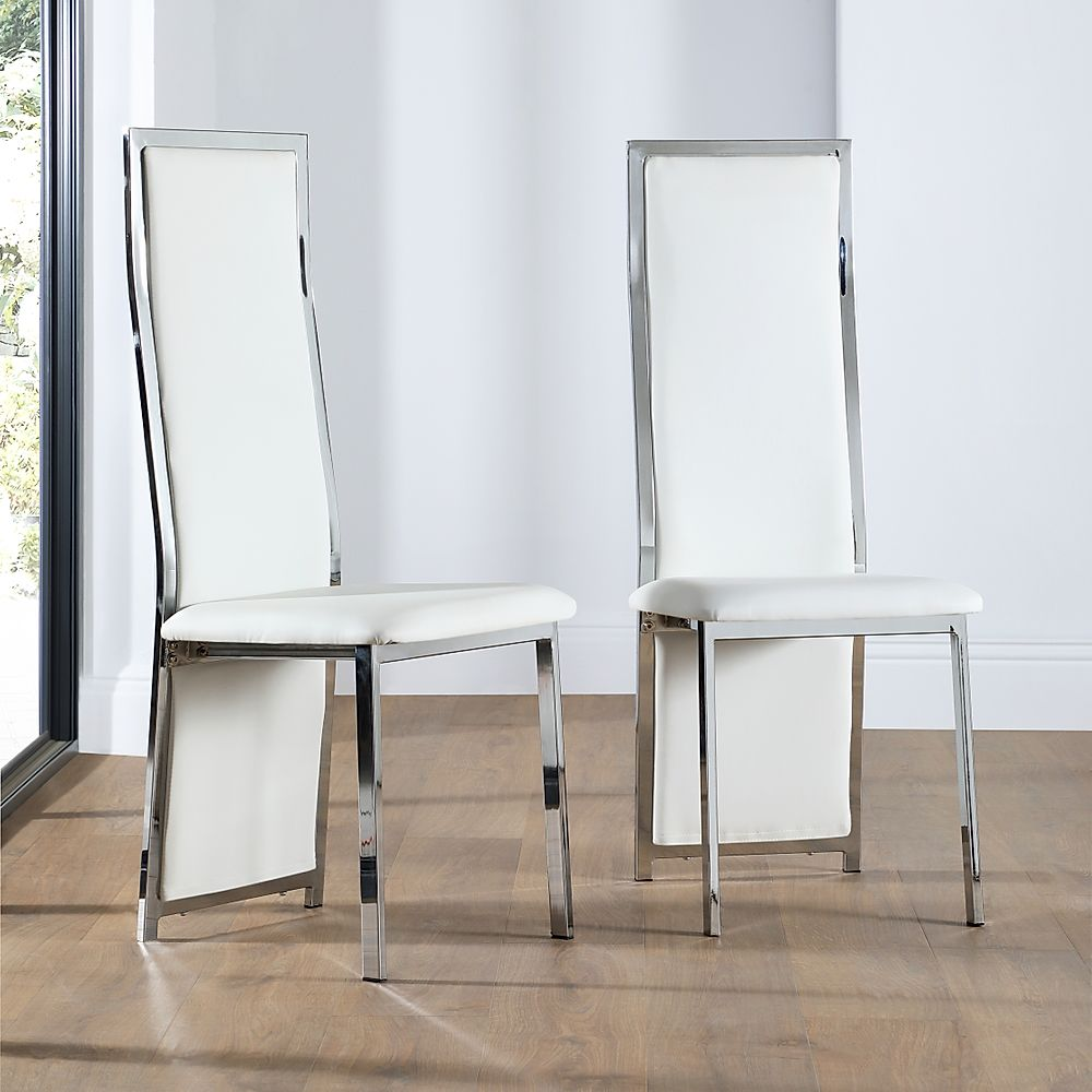 Celeste Chrome and Leather Dining Chair (White)