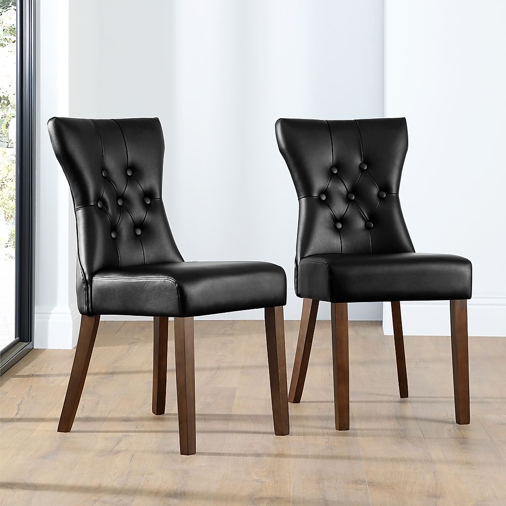 Bewley Black Leather Button Back Dining Chair (Dark Leg)