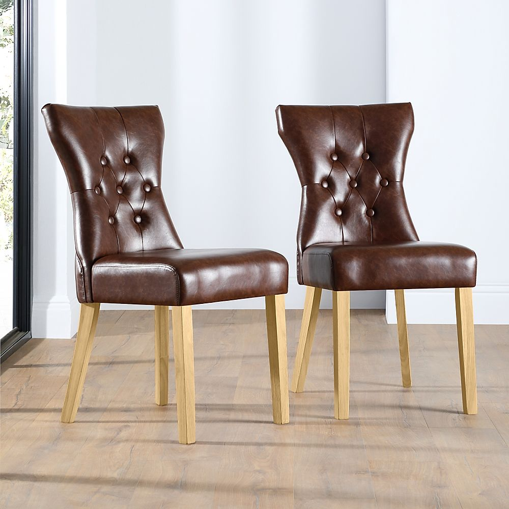 Bewley Leather Button Back Dining Chair Club Brown (Oak Leg)
