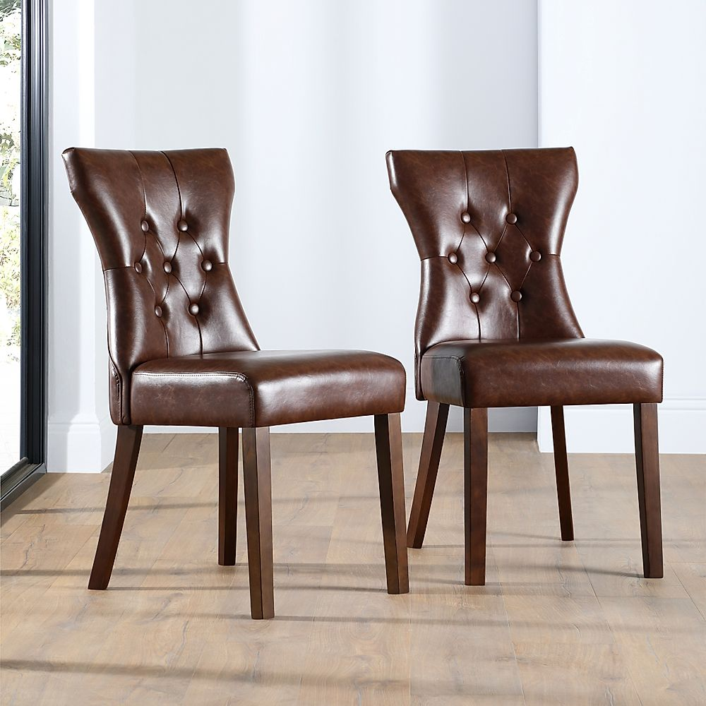 Bewley Club Brown Leather Button Back Dining Chair (Dark Leg)