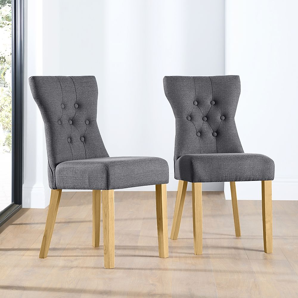 Bewley Slate Fabric Button Back Dining Chair (Oak Leg)