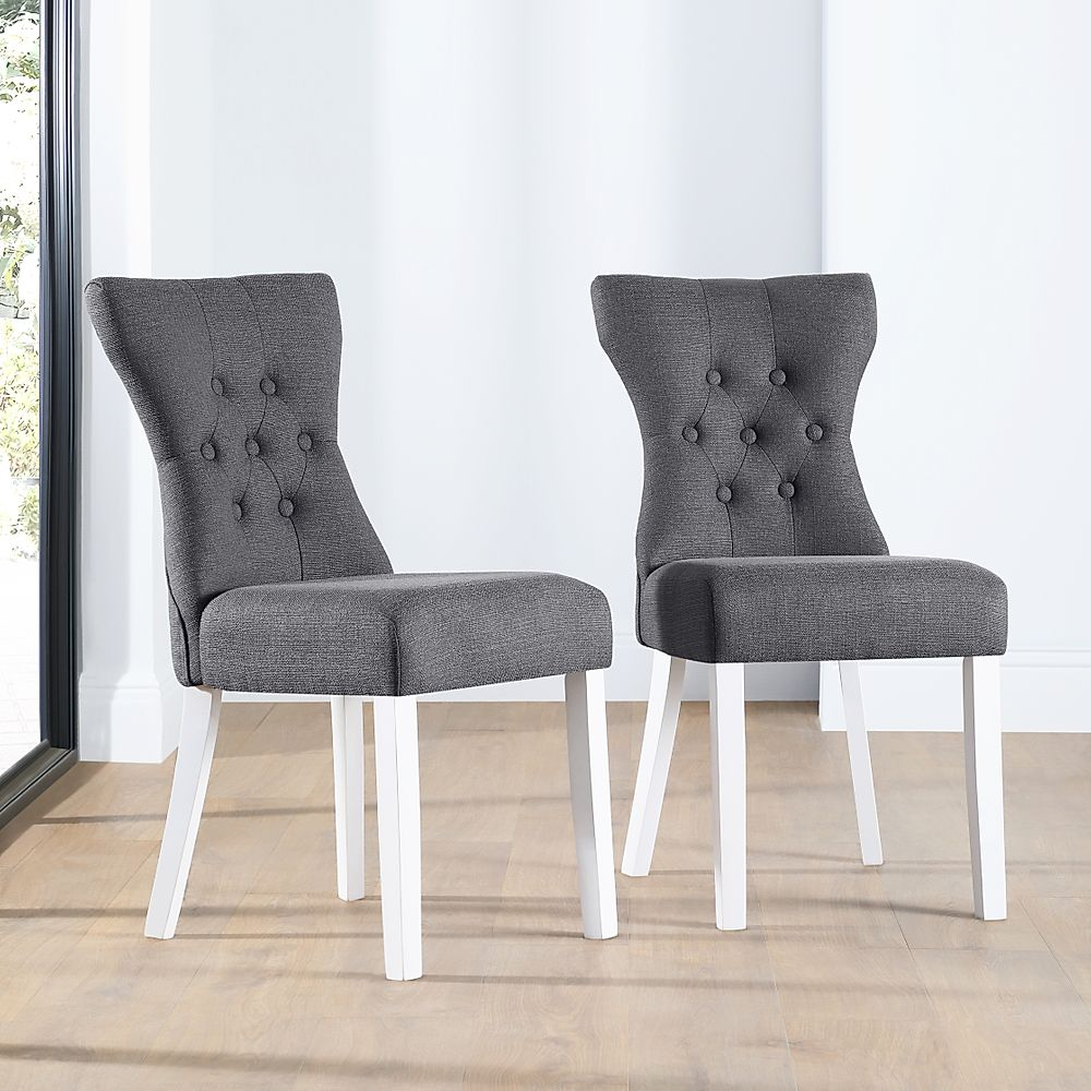 Bewley Fabric Button Back Dining Chair Slate (White Leg)