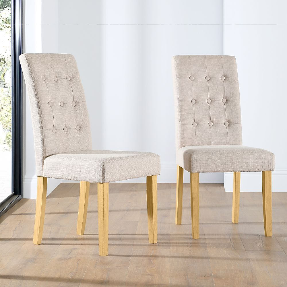 Regent Fabric Button Back Dining Chair Oatmeal (Oak Leg)