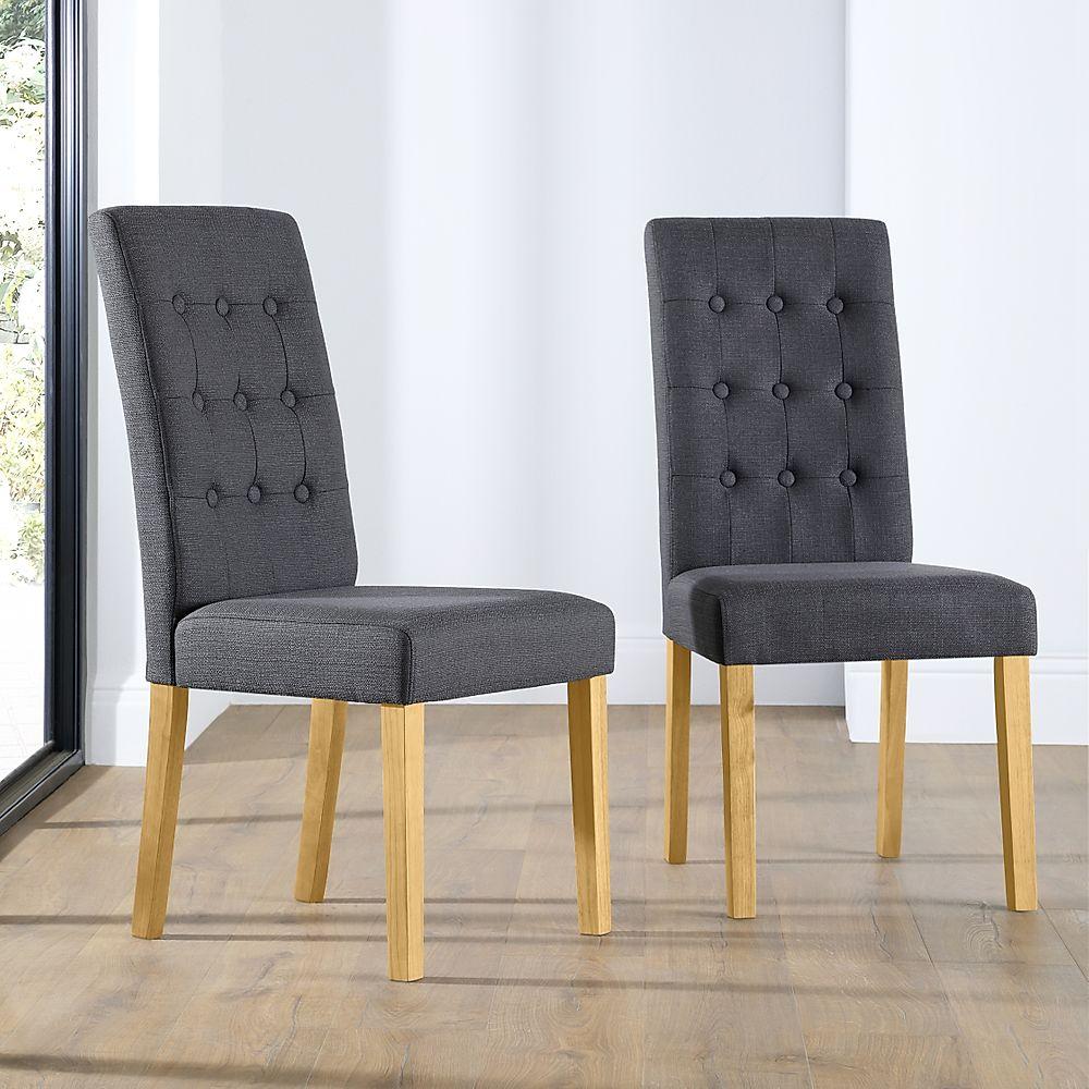 Regent Fabric Button Back Dining Chair Slate (Oak Leg)