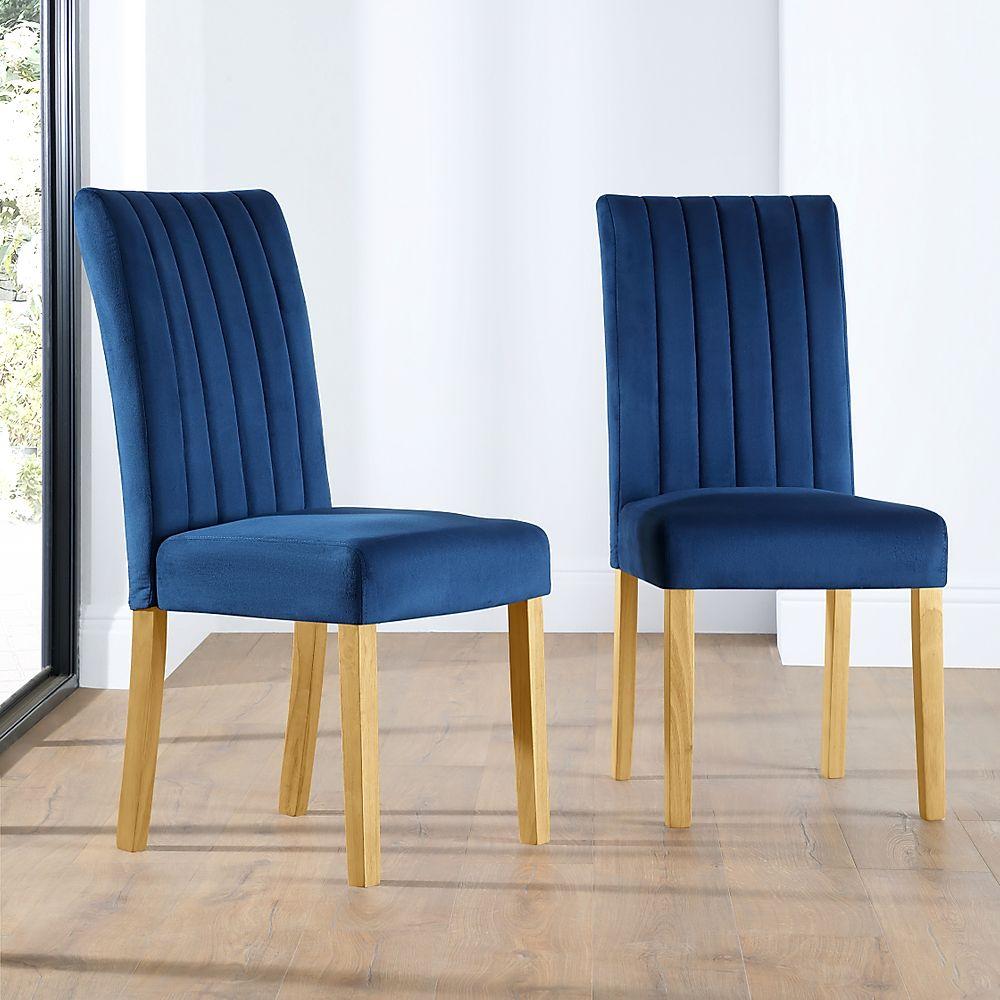 Salisbury Velvet Dining Chair Blue (Oak Leg)