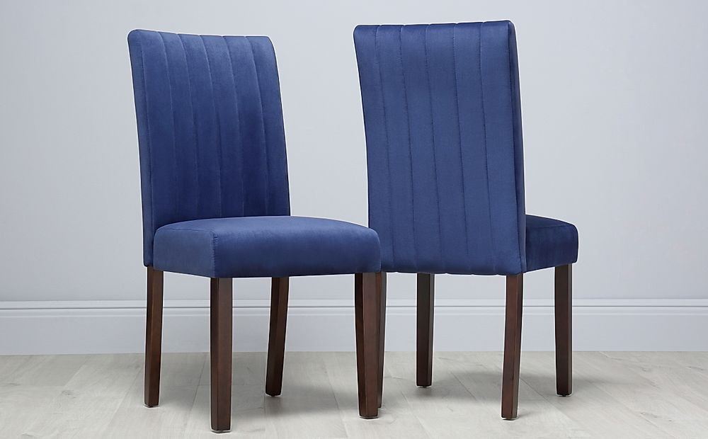 Salisbury Velvet Dining Chair Blue (Dark Leg)