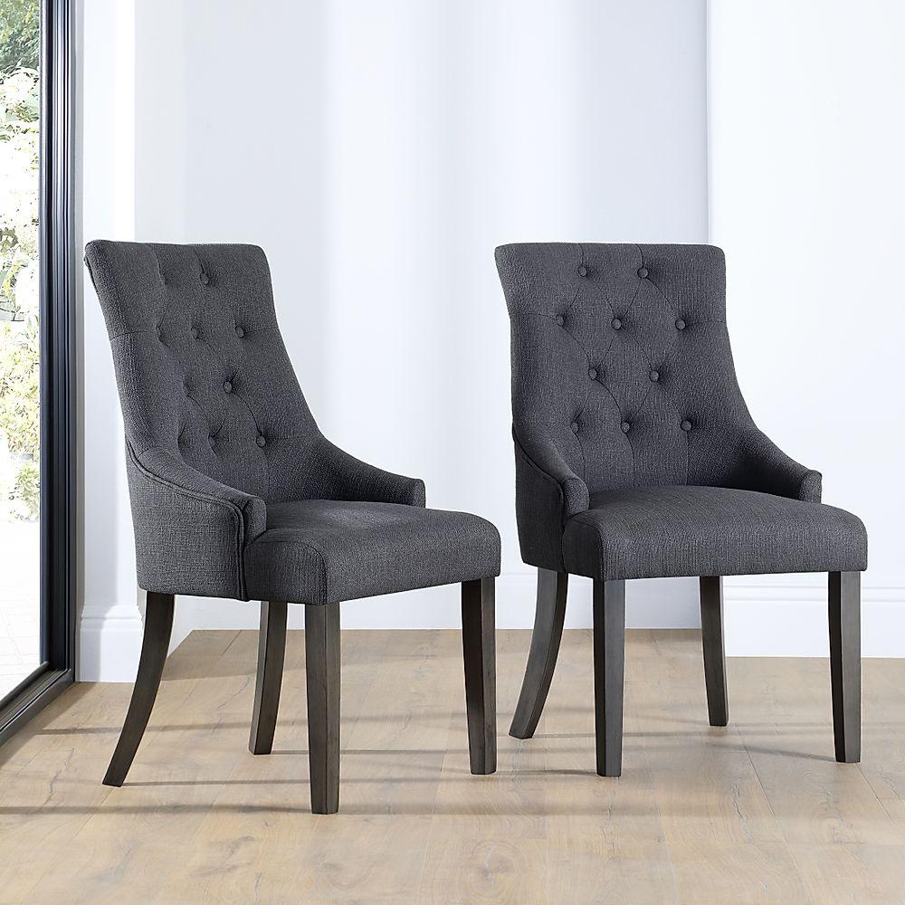 Duke Fabric Button Back Dining Chair Slate (Grey Leg)