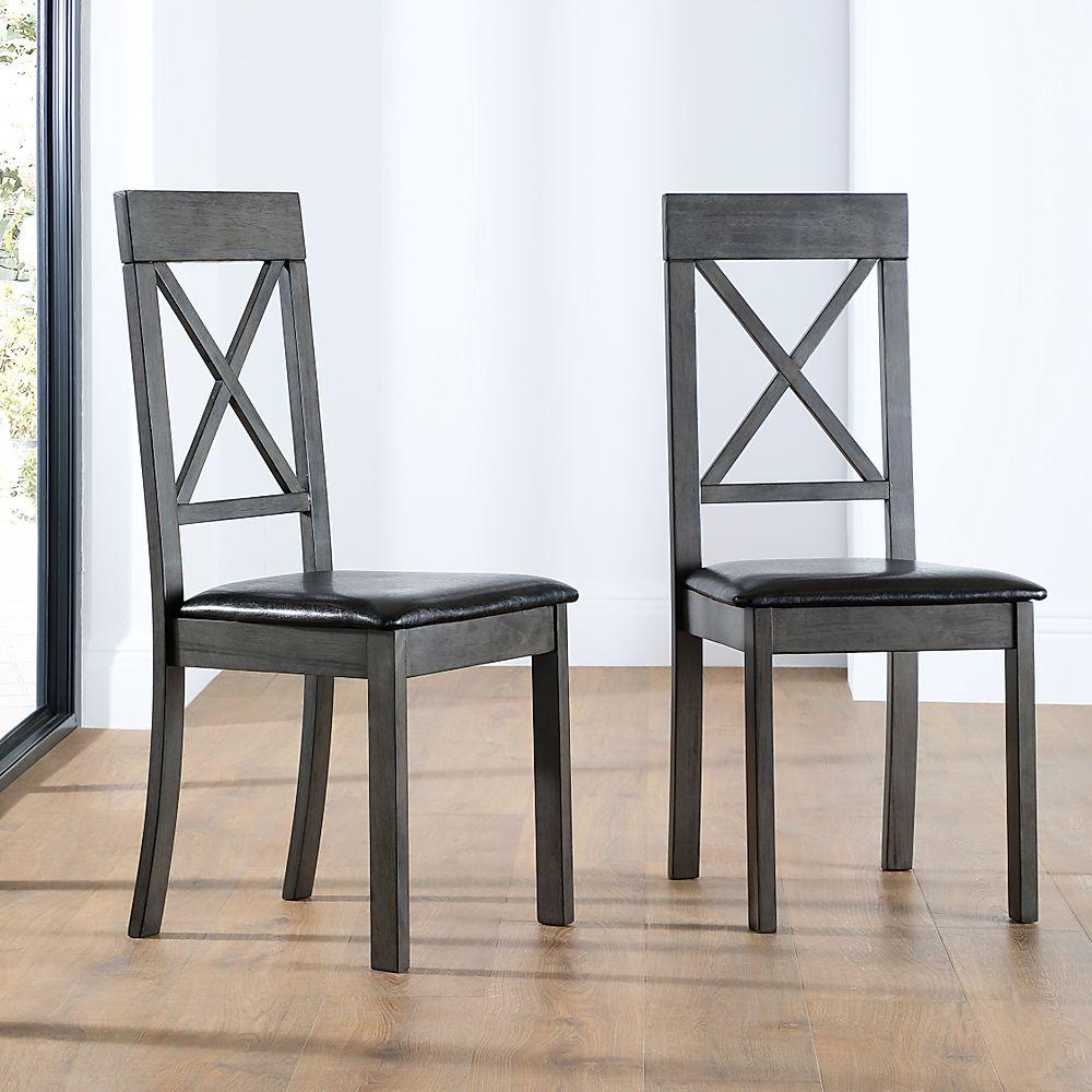Kendal Dining Chair Grey (Brown Seat Pad)