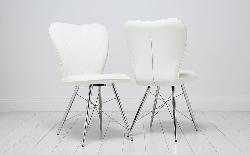 Lucca White Leather Dining Chair (Chrome Leg)