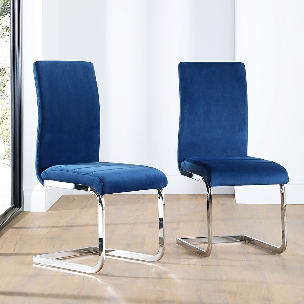 Perth Blue Velvet Dining Chair (Chrome Leg)
