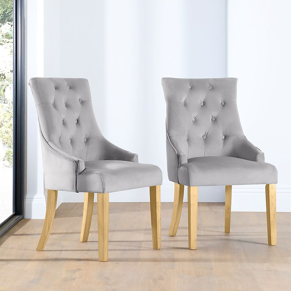 Duke Grey Velvet Button Back Dining Chair (Oak Leg