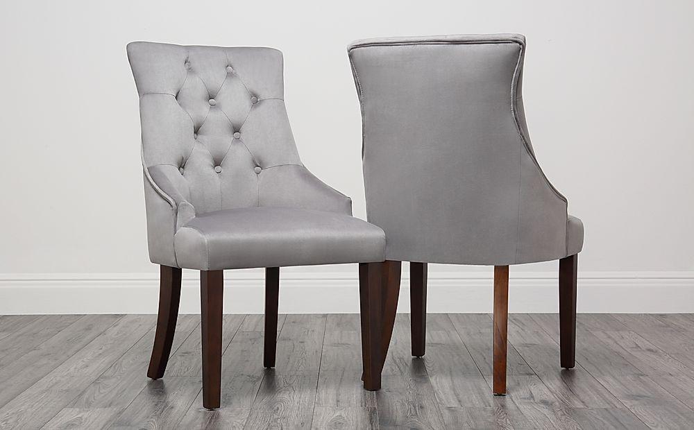 Duke Velvet Button Back Dining Chair Grey (Dark Leg)