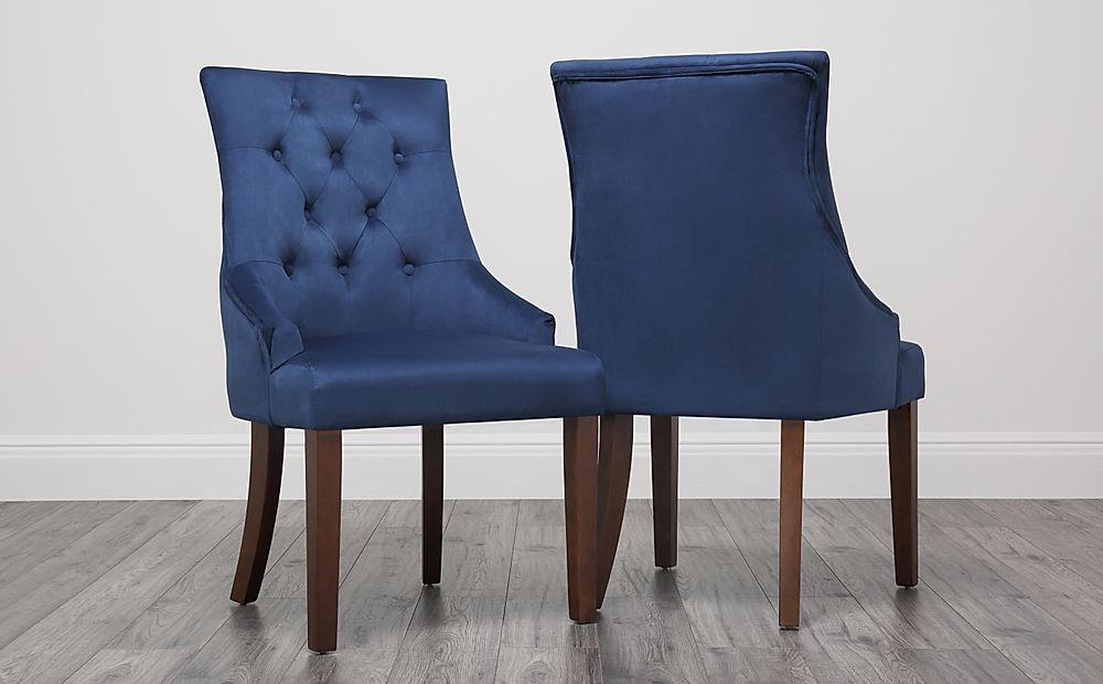 Duke Velvet Button Back Dining Chair Blue Dark Leg Only
