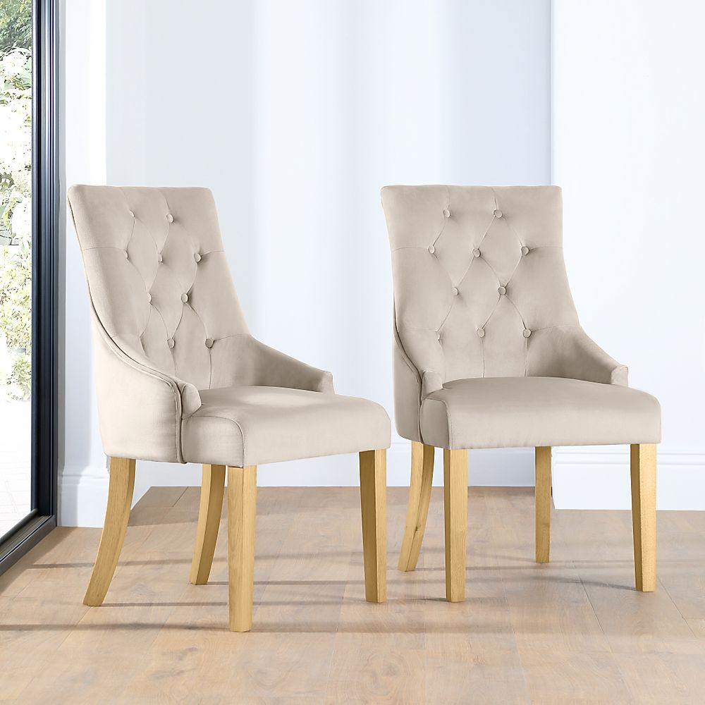 Duke Mink Velvet Button Back Dining Chair (Oak Leg)
