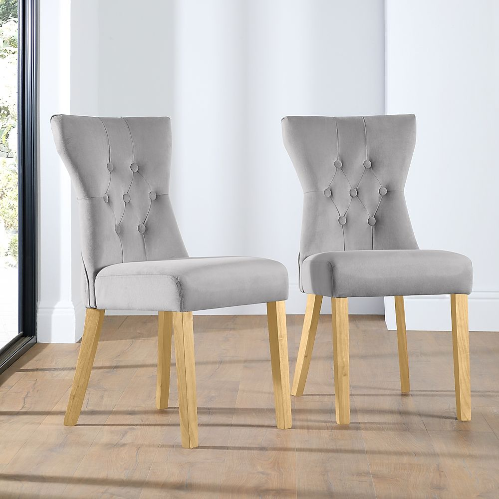 Bewley Velvet Button Back Dining Chair Grey (Oak Leg)