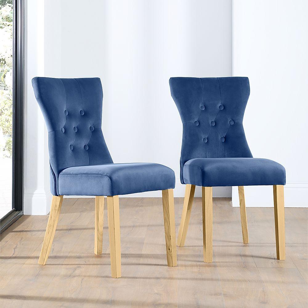 Bewley Blue Velvet Button Back Dining Chair (Oak Leg)