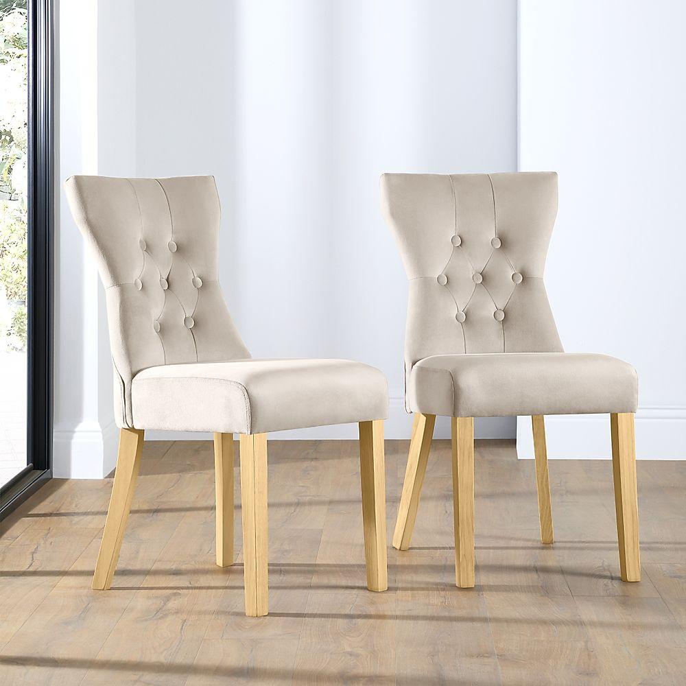 Bewley Mink Velvet Button Back Dining Chair (Oak Leg)