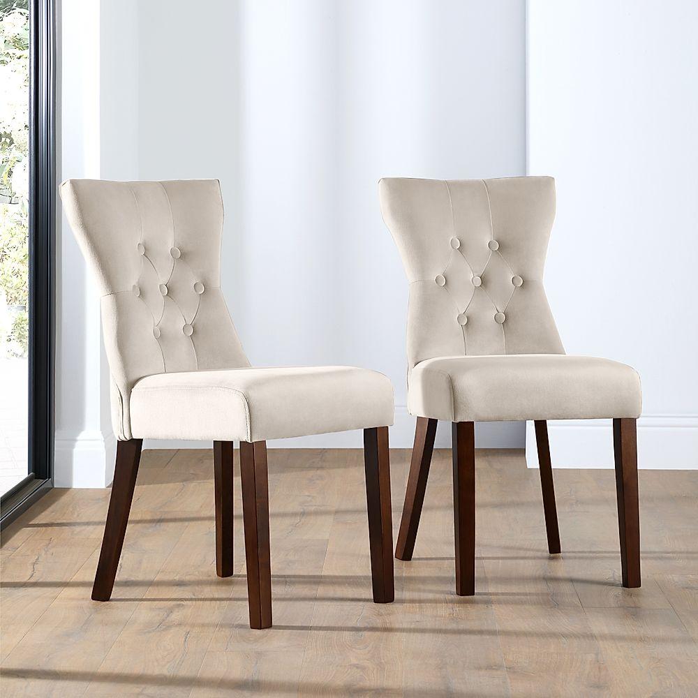 Bewley Mink Velvet Button Back Dining Chair Dark Leg