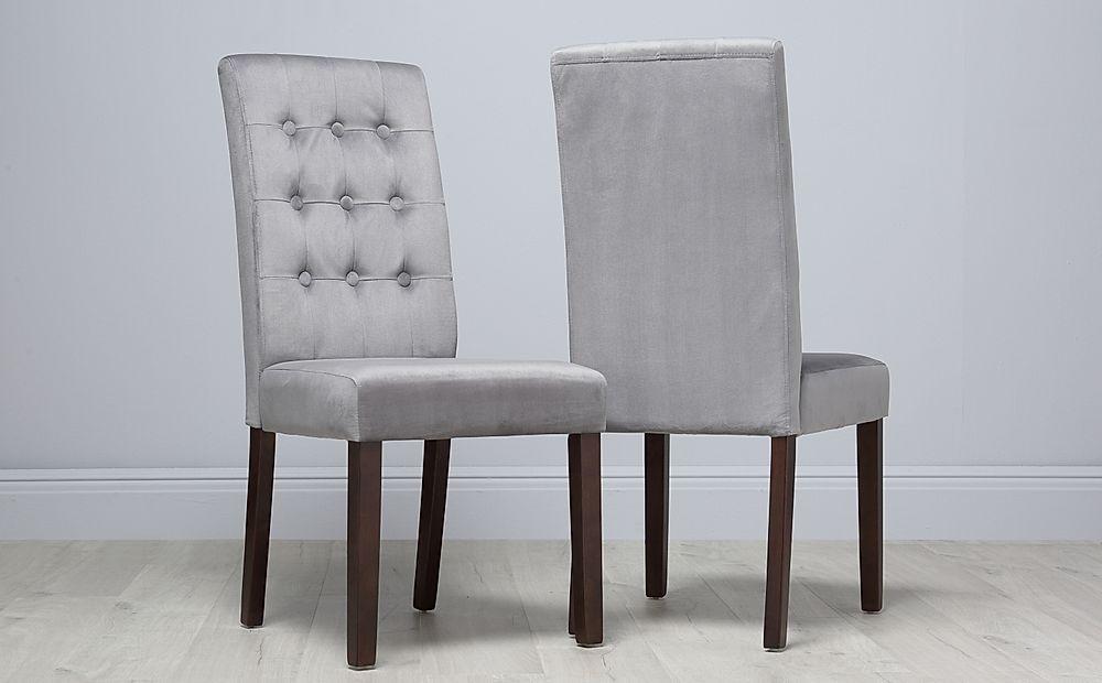 Regent Velvet Button Back Dining Chair Grey (Dark Leg)