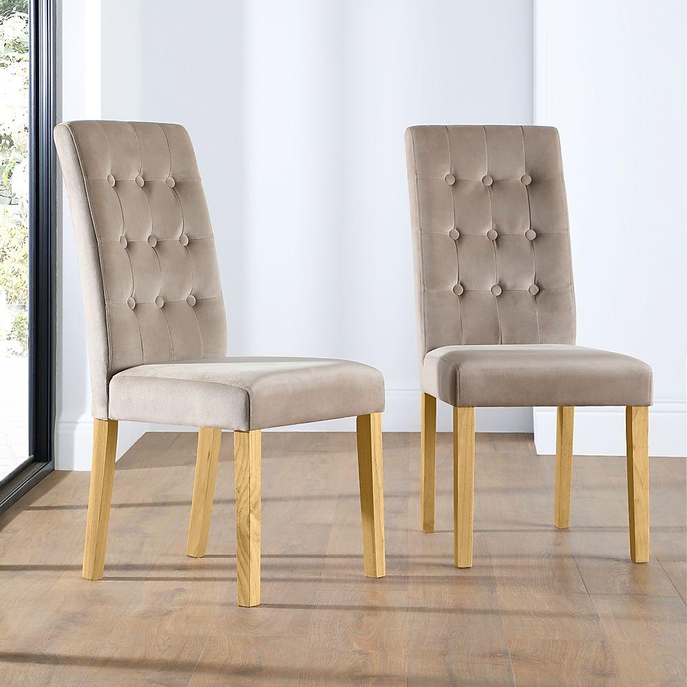Regent Velvet Button Back Dining Chair Mink (Oak Leg)