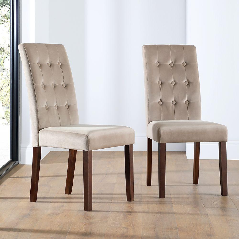 Regent Velvet Button Back Dining Chair Mink (Dark Leg)