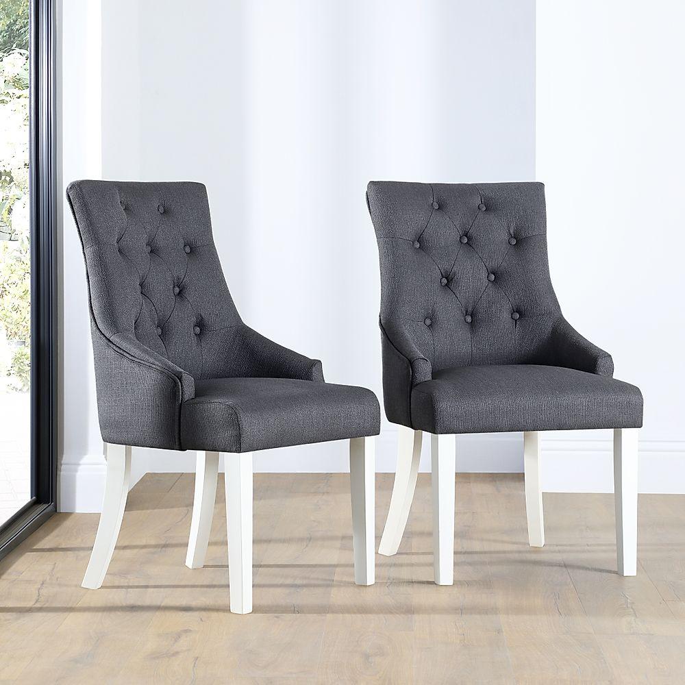 Duke Fabric Button Back Dining Chair Slate (White Leg)