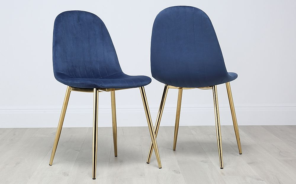 Brooklyn Velvet Dining Chair - Blue (Gold Leg)