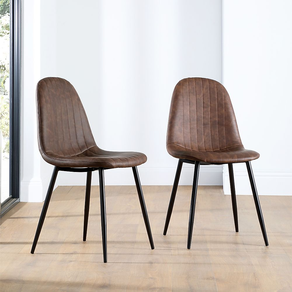 Brooklyn Leather Dining Chair Vintage Brown (Black Leg)