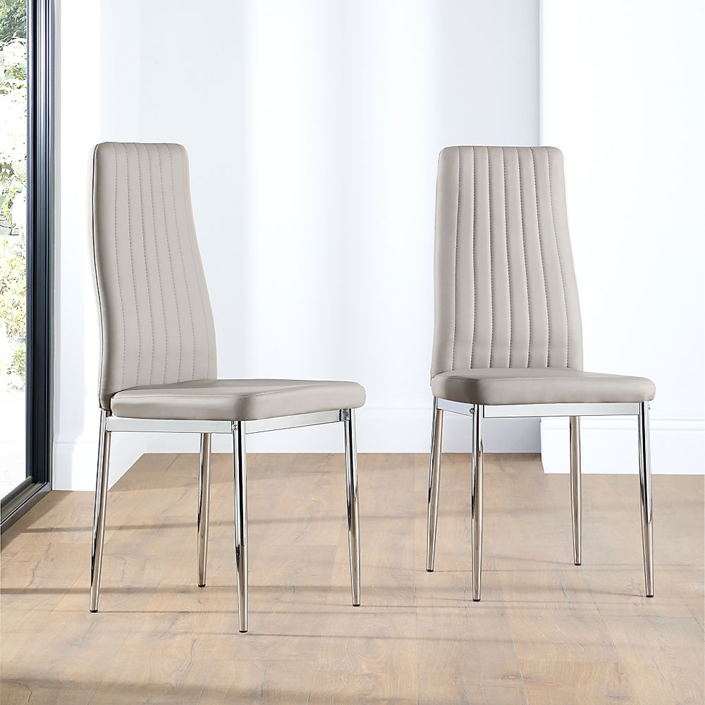 Leon Taupe Leather Dining Chair Chrome Leg
