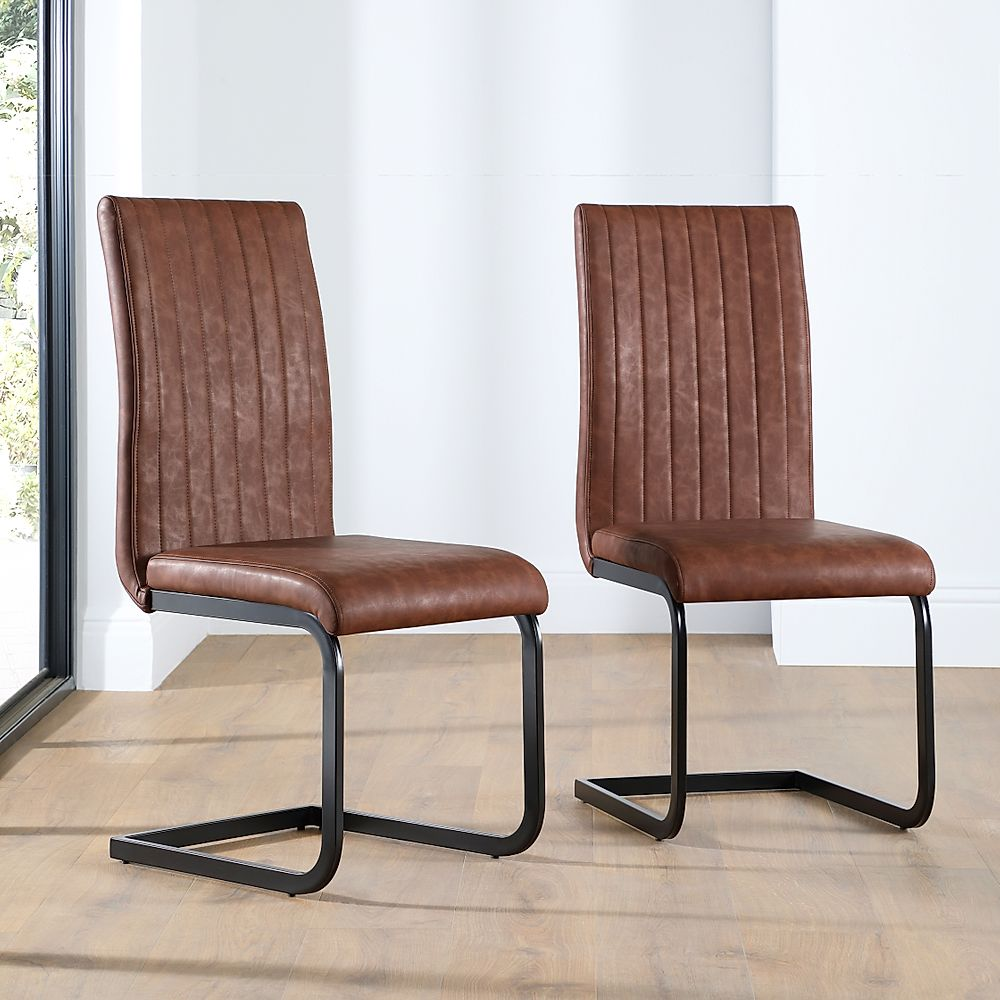 Perth Leather Dining Chair Tan (with Black Legs)