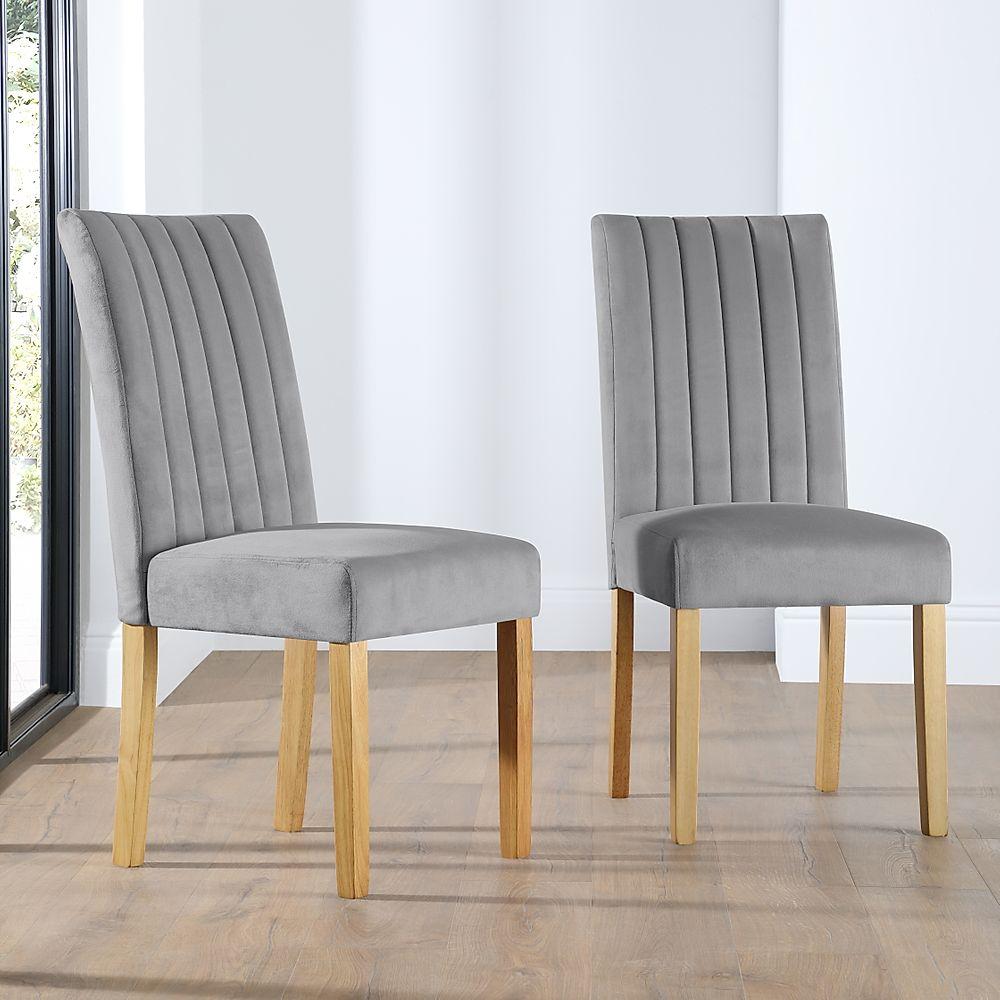 Salisbury Velvet Dining Chair Grey (Oak Legs)