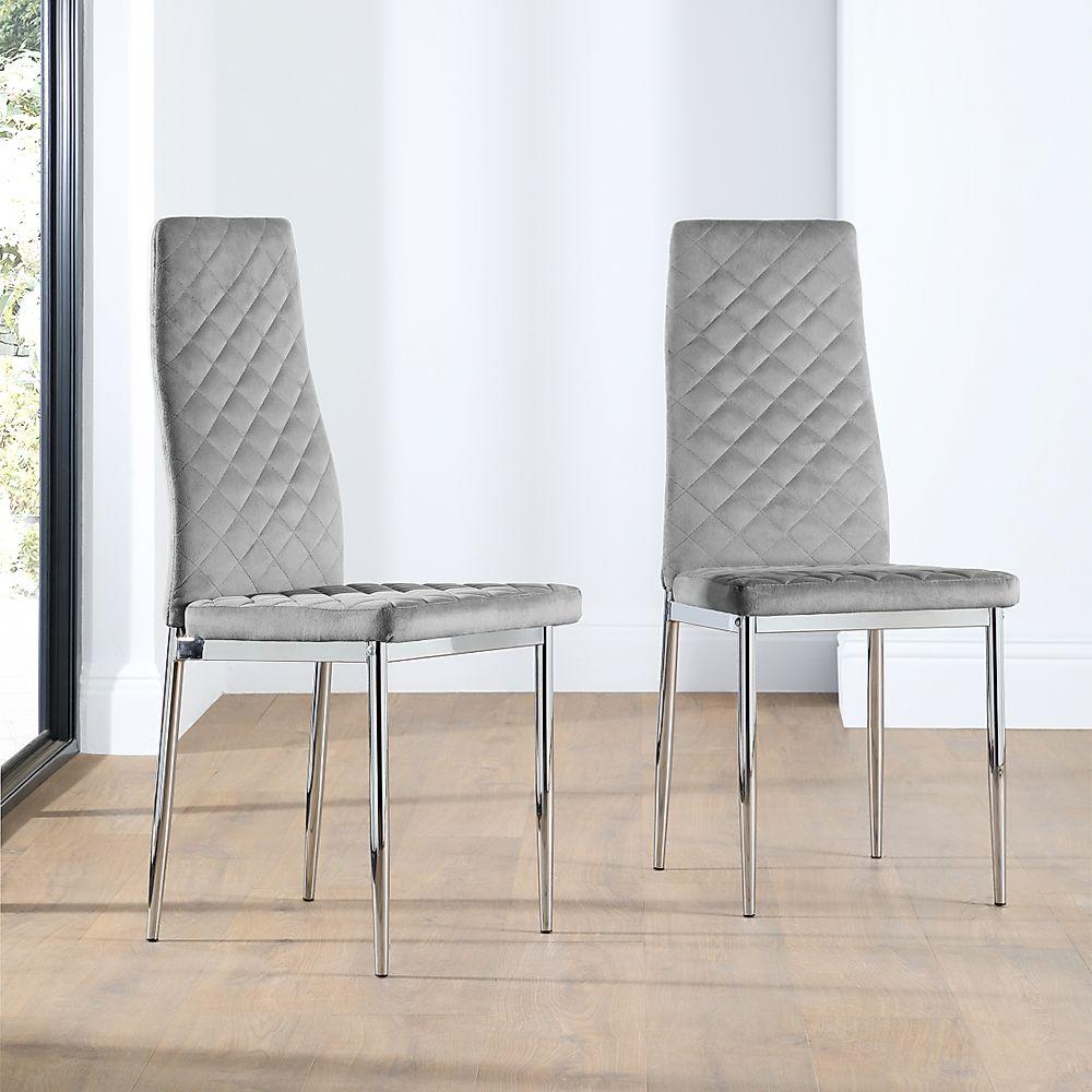Renzo Grey Velvet Dining Chair (Chrome Leg)