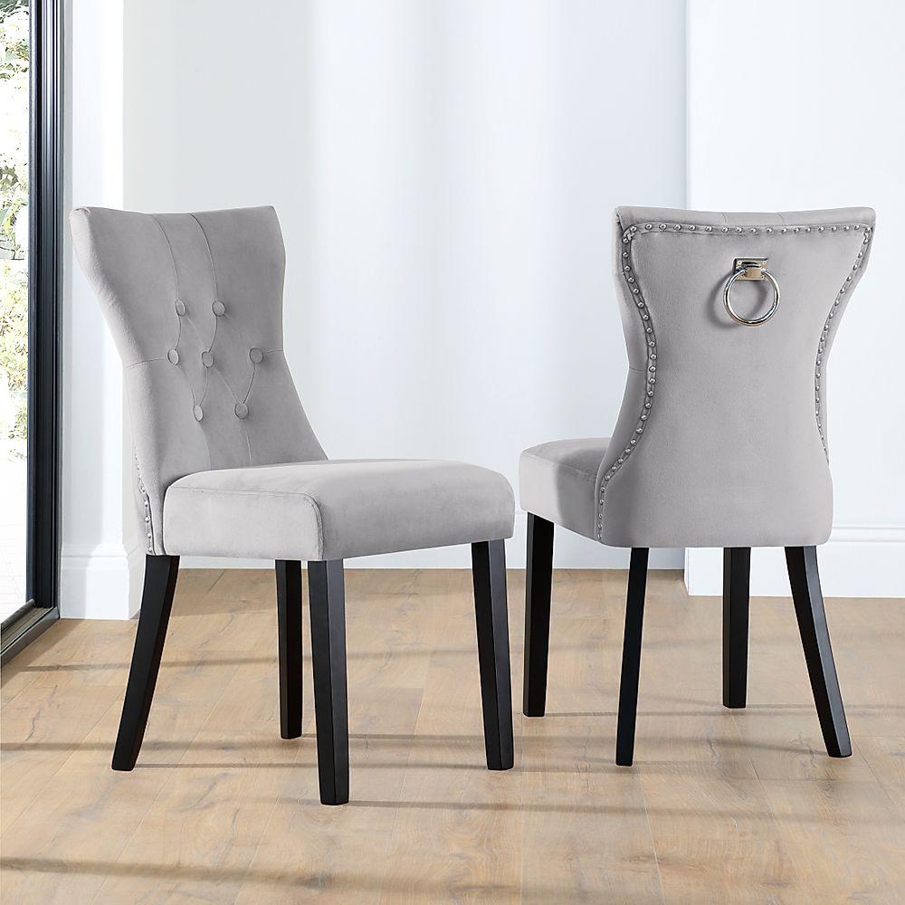 Kensington Grey Velvet Button Back Dining Chair (Black Leg)