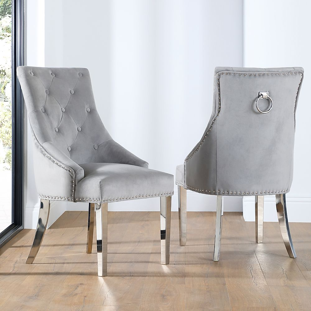Imperial Grey Velvet Button Back Dining Chair (Chrome Leg)