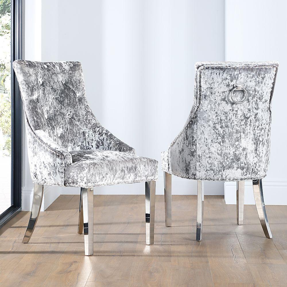 Imperial Silver Velvet Button Back Dining Chair (Chrome Leg)