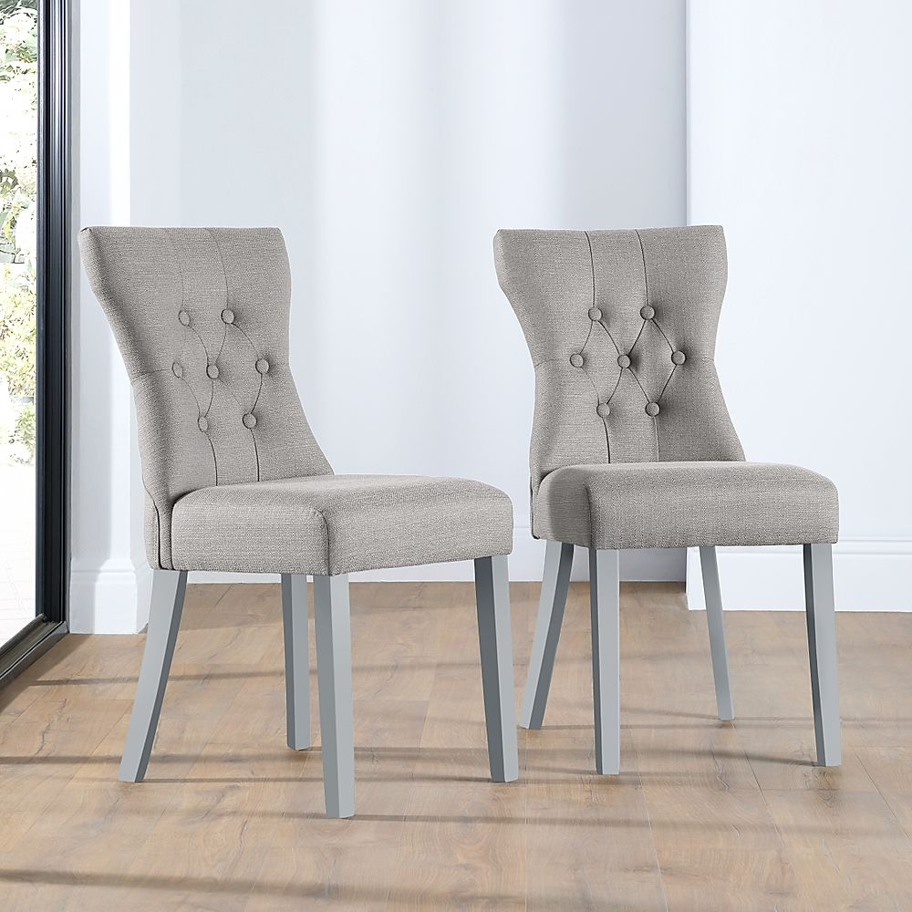 Bewley Light Grey Fabric Button Back Dining Chair (Grey Leg)