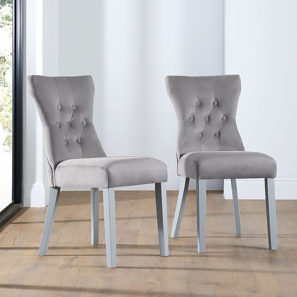 Bewley Grey Velvet Button Back Dining Chair Grey Leg