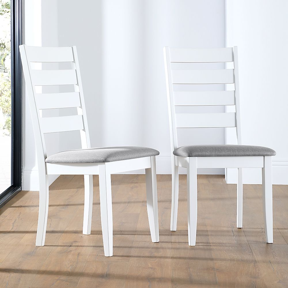 Grove White Dining Chair (Grey Fabric Seat Pad)